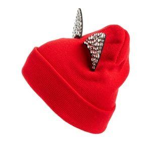 TASHA Jeweled Cat Ear Beanie, Red